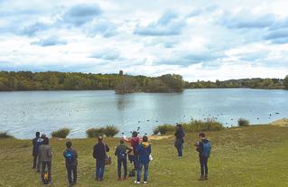 Parcours paysage et biodiversité organisé pour les Journées du Patrimoine, au lac Montalbot à Vigneux-sur-Seine - septembre 2019.