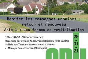 """""""Habiter les campagnes urbaines :  retour et renouveau"""" Acte 1 : Les formes de revitalisation. Séminaire du 29 janvier 2021 - pg1"""